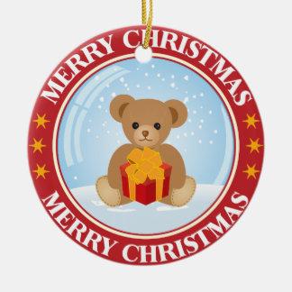 De mooie Sneeuwbal van Kerstmis met Leuk binnen Rond Keramisch Ornament