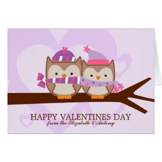 De mooie Valentijnsdag van het Paar van de Uil Kaart