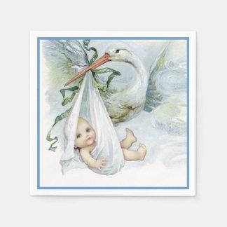 De mooie Vintage Douche van de Jongen van het Baby Wegwerp Servet