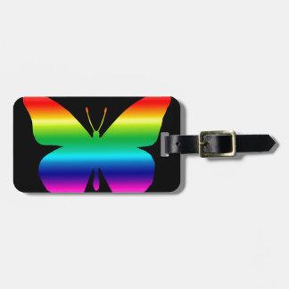 De mooie Vlinder van de Monarch in Regenboog op Zw Kofferlabel