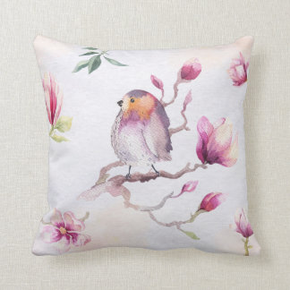 De mooie Vogel van de Waterverf & Bloemen Sierkussen