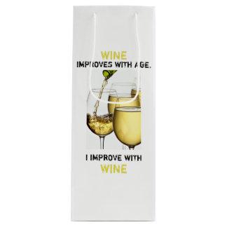 De mooie Witte Foto van de Wijn met Grappige Wijn Cadeautas
