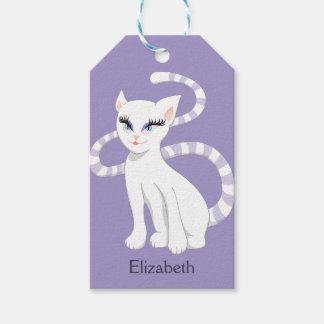 De mooie Witte Kat van de Cartoon Cadeaulabel