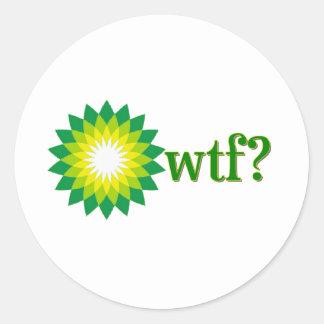 DE MORSERIJ WTF VAN DE OLIE VAN BP RONDE STICKER