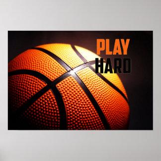 De motivatie van het basketbal - spel hard door poster