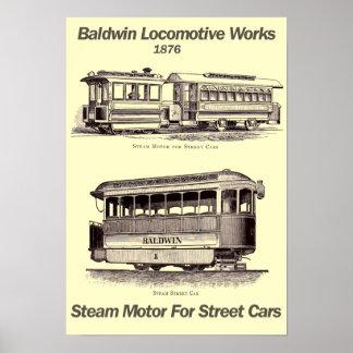 De Motor van de Stoom van Baldwin voor Auto's 1876 Poster