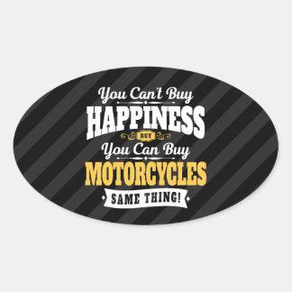 De motorrijder schuint koopt Geluk kan Motorfiets Ovale Sticker