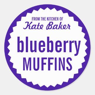 De Muffin van de bosbes bakt de Sjabloon van het Ronde Sticker