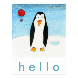 De Muis & de Pinguïn van de ballon Briefkaart