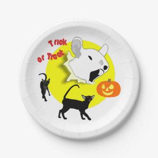 De Muis en de Katten van de Pompoen van Halloween Papieren Bordje