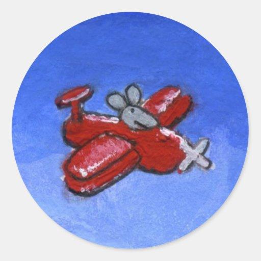 De Muis van het vliegtuig Ronde Stickers