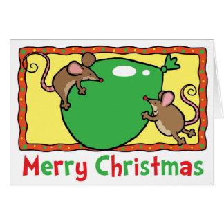 De muizen van Kerstmis met ballon Briefkaarten 0