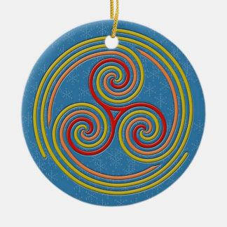 De MultiSpiraal van de pastelkleur op het Blauw & Rond Keramisch Ornament