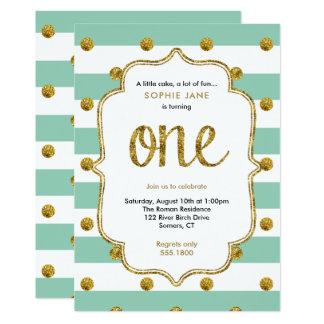 De munt en de Gouden Eerste Verjaardag schitteren 12,7x17,8 Uitnodiging Kaart