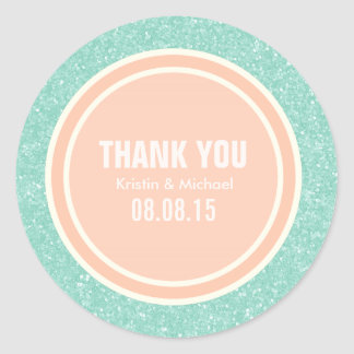 De munt schittert & dankt de Perzik u Ronde Sticke Ronde Sticker