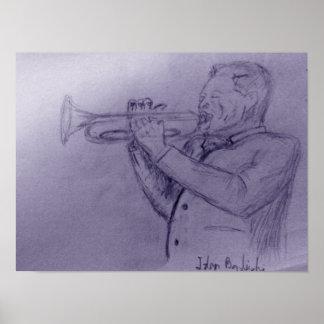 De musicus van de jazz het spelen trompet - schets poster