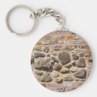 De muur van de baksteen en van de steen sleutelhanger