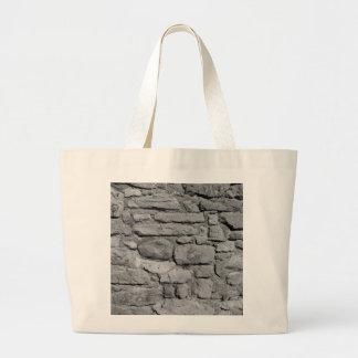 De Muur van de steen. Zwart-wit. Canvas Tassen