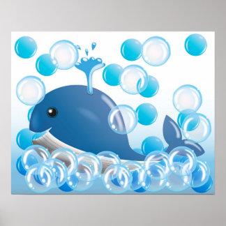 De muurart. van het blauwe vinviskinderdagverblijf poster