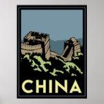 de muurAzië van China grote art deco retro reis Afdruk