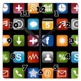 De muurklok | van de nieuwigheid app van de Pret Vierkante Klok