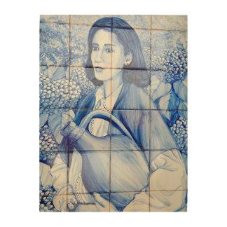 De muurschildering van Azulejo Houten Canvas Print