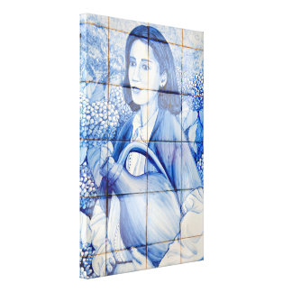 De muurschildering van Azulejo Stretched Canvas Print