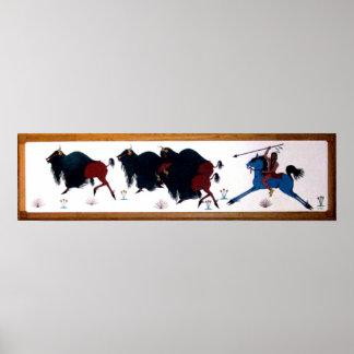 De Muurschildering van de Jacht van de Buffels van Poster
