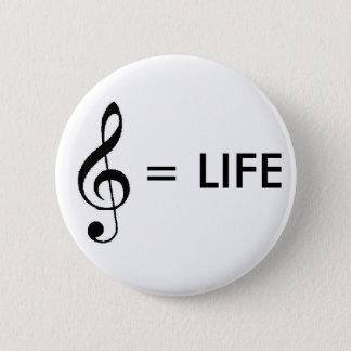 """De """"muziek de Knoop is van het Leven"""" Ronde Button 5,7 Cm"""