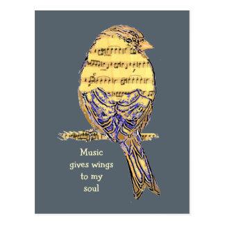 De muziek geeft mijn Vogel van de Nota van de Briefkaart