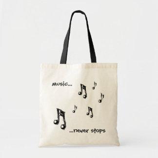 De muziek houdt nooit bolsa tegen draagtas
