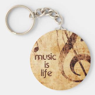 De muziek is het Leven Basic Ronde Button Sleutelhanger