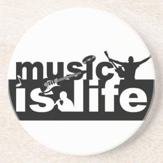 De muziek is het levensonderzetter - pas aan! zandsteen onderzetter