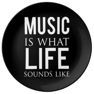 De muziek is wat het Leven als klinkt Porseleinen Bord