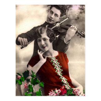 De Muziek van de viool die door Vintage Musicus Briefkaart