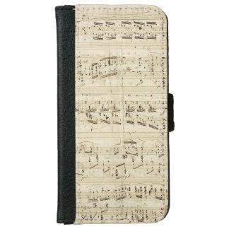 De Muziek van het blad op Perkament Met de hand iPhone 6 Portemonneehoesje