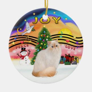 De Muziek van Kerstmis #2 - de Kat van het Punt Rond Keramisch Ornament