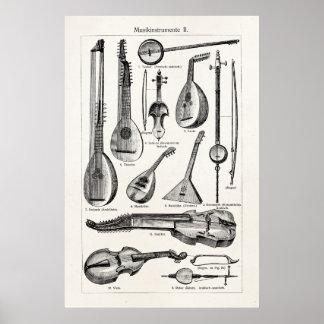 De Muzikale Instrumenten van het vintage van de Poster