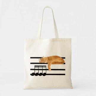 De muzikale kat van het gestreepte katkat budget draagtas