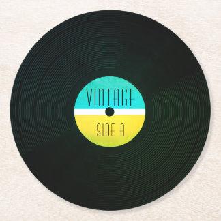 De muzikale vinyl vintage stijl van het ronde onderzetter