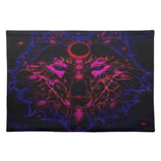 De mythische Blauwe Wolf van het Neon Placemat