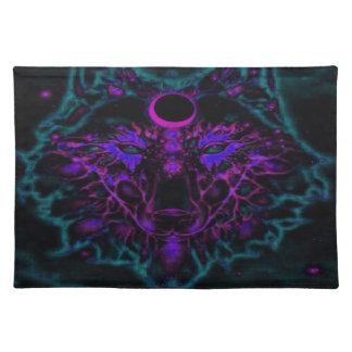 De mythische Blauwgroen Wolf van het Neon Placemat