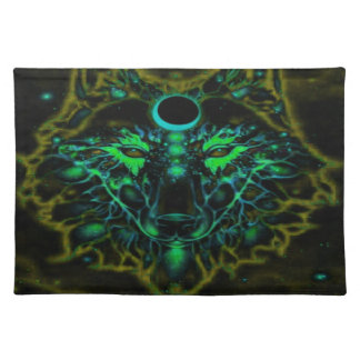 De mythische Gele Wolf van het Neon Placemat