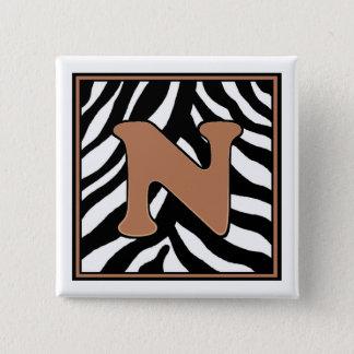 De n-gestreepte Vierkante Knoop Met monogram van Vierkante Button 5,1 Cm
