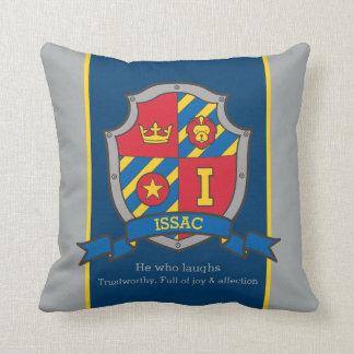 De naam die van Issac schild rood blauw Sierkussen