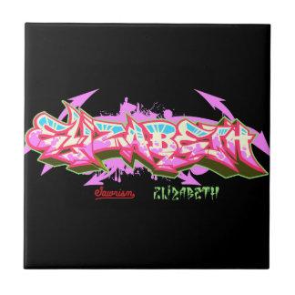 De naam Elizabeth in graffiti-ceramische Tegel Keramisch Tegeltje