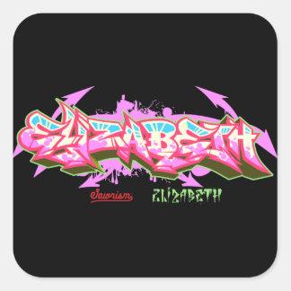 De naam Elizabeth in graffiti-sticker Vierkante Sticker