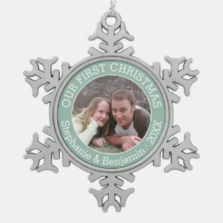 De Naam en het Jaar van de Douane van de Foto van Tin Sneeuwvlok Ornament