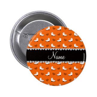 De naam oranje schaatsen en harten van de douane button