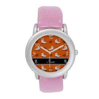 De naam oranje schaatsen en harten van de douane horloges